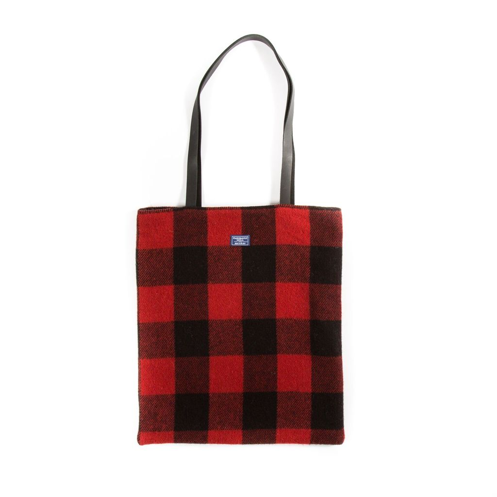 BUFFALO CHECK UNSTRUCTURED TOTE, RED