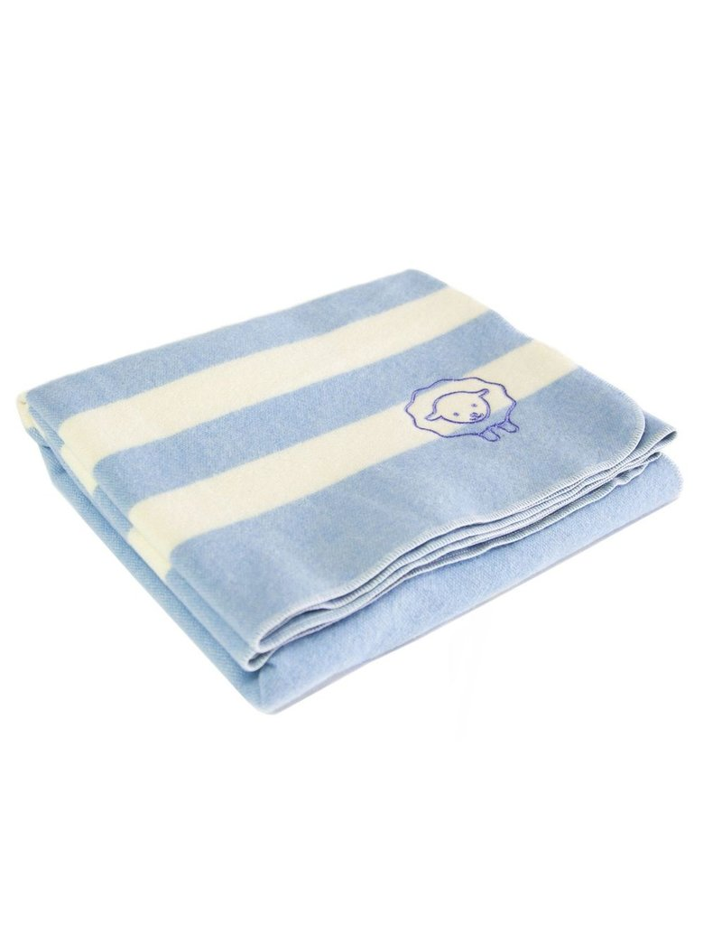 Faribault Woolen Mill Co. BABY TRAPPER WOOL BLANKET, BLUE BELL