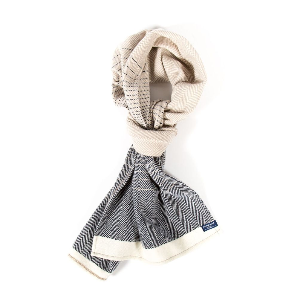 EAGAN HERRINGBONE WOOL SCARF, NATURAL