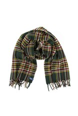 STEWART PLAID WOOL SCARF, GREEN