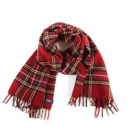 STEWART PLAID WOOL SCARF, RED
