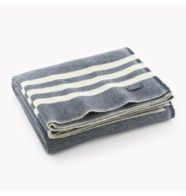 Faribault Woolen Mill Co. TRAPPER WOOL THROW, NAVY AND NATURAL STRIPE