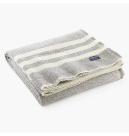 Faribault Woolen Mill Co. TRAPPER WOOL THROW, GRAY AND NATURAL STRIPE