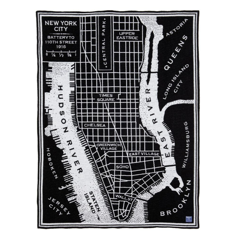 VINTAGE CITY MAP WOOL THROW - NYC