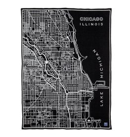 Faribault Woolen Mill Co. VINTAGE CITY MAP WOOL THROW - CHICAGO