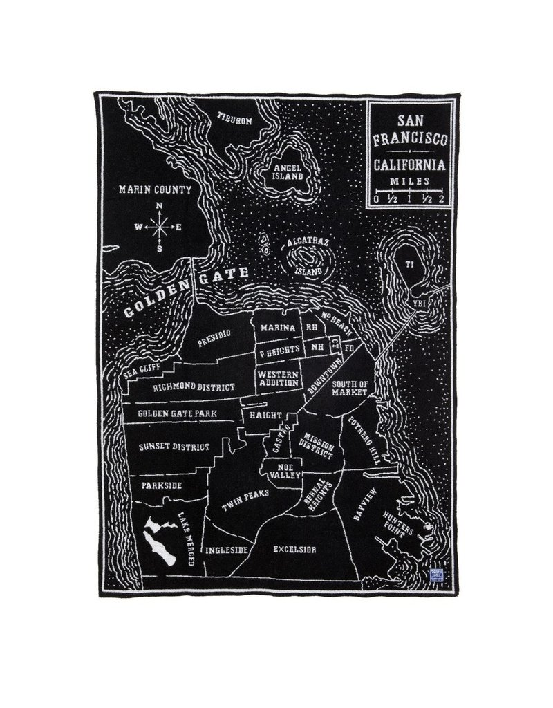 Faribault Woolen Mill Co. VINTAGE CITY MAP WOOL THROW - SAN FRANCISCO