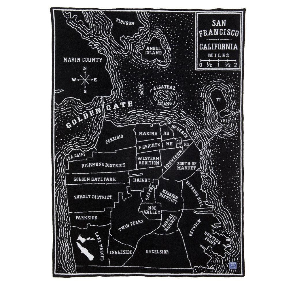 VINTAGE CITY MAP WOOL THROW - SAN FRANCISCO
