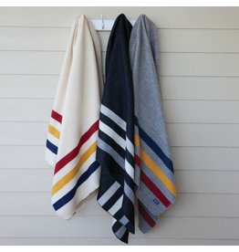 Faribault Woolen Mill Co. REVIVAL STRIPE WOOL THROW, BLACK AND HEATHER GRAY