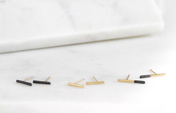 Black and Gold Stria Studs
