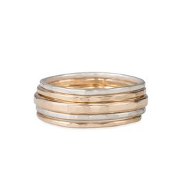 5-Stack Gold & Silver Round Ring, Size 7