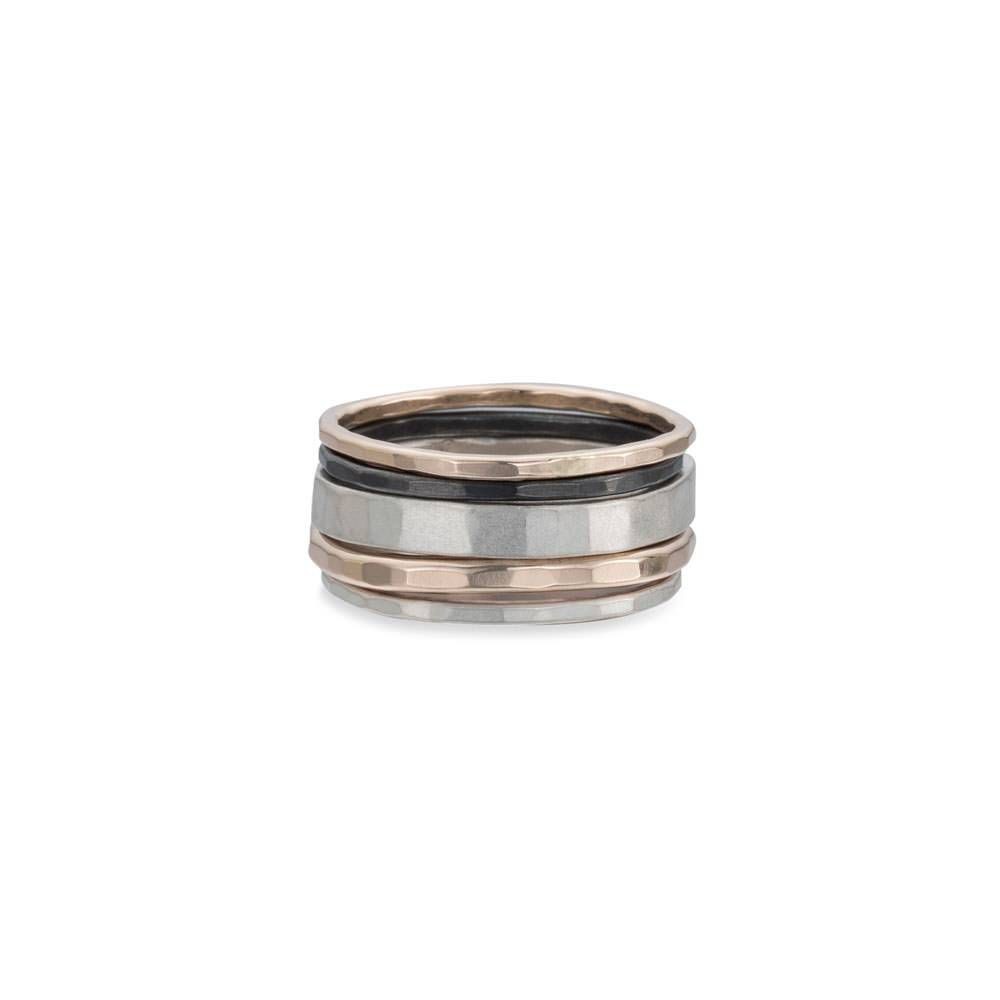 5-Stack Tri-Toned Round Ring With Wide Band, Size 7