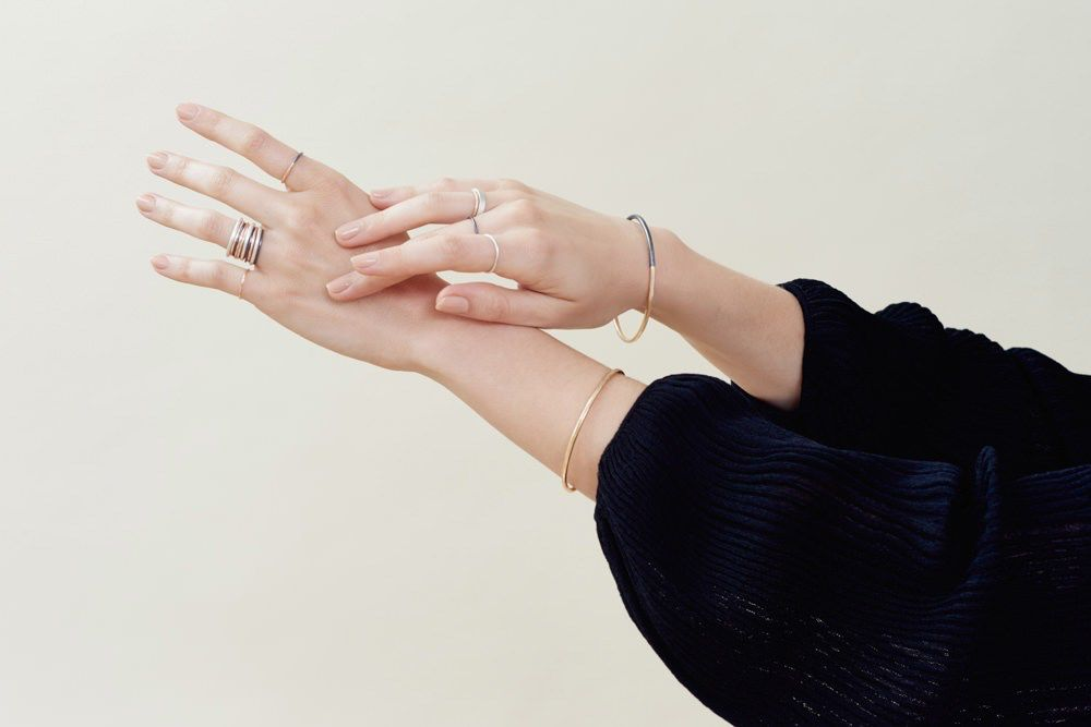 Thick Black & Rose Gold Gibbous Cuff