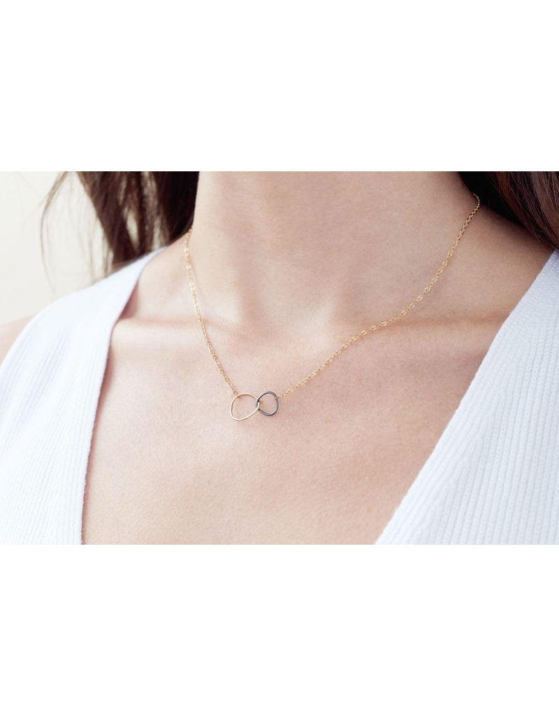 Colleen Mauer Designs Black & Rose Gold Interlocking Necklace
