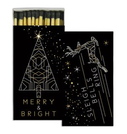 MATCHES - MERRY AND BRIGHT - GOLD FOIL<br /> MATCHES - STAG &amp; DOE - GOLD FOIL