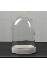 GLASS DOME - OVAL - SM - CLEAR WITH CEMENT OVAL BASE