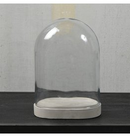 HomArt GLASS DOME - OVAL - MEDIUM- CLEAR WITH CEMENT OVAL BASE