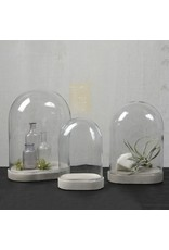 GLASS DOME - OVAL - MEDIUM- CLEAR WITH CEMENT OVAL BASE