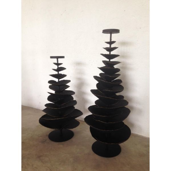BLACK IRON TREE CANDLE HOLDER - SMALL