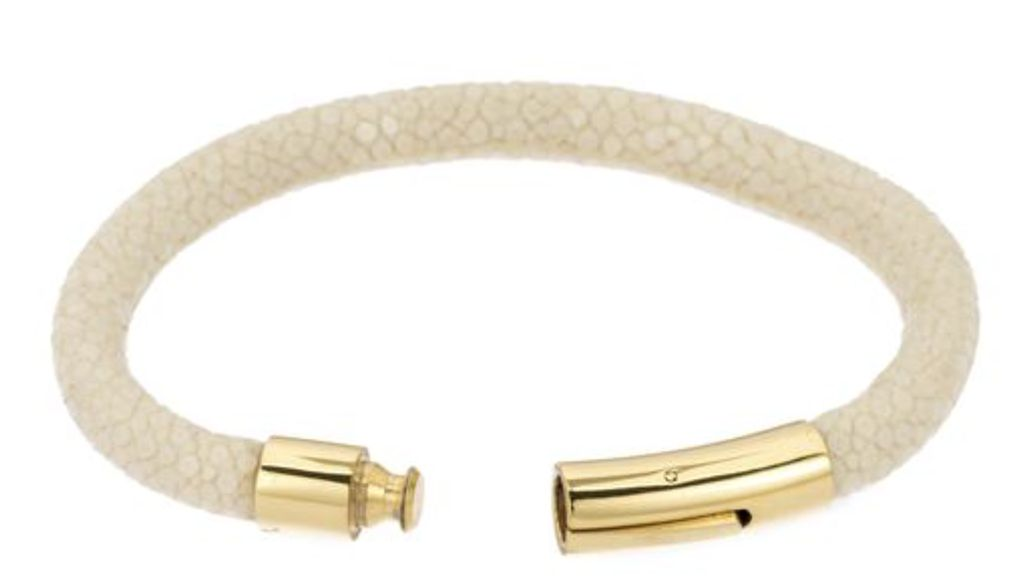 Genuine shagreen 6mm cord bracelet, gold bayonet clasp. Size medium 7.5 IN- Ivory