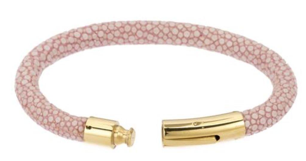 Genuine shagreen 6mm cord bracelet, gold bayonet clasp. Size medium 7.5 IN- PINK