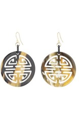 Buffalo horn carved Chinese circle symbol earrings