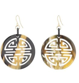 Vivo Buffalo horn carved Chinese circle symbol earrings