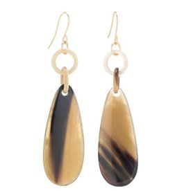 Buffalo horn drop earring on wire. Buffalo horn is a natural material, each item has a unique character and may vary from image.