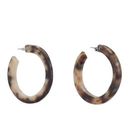 Buffalo horn crescent earring