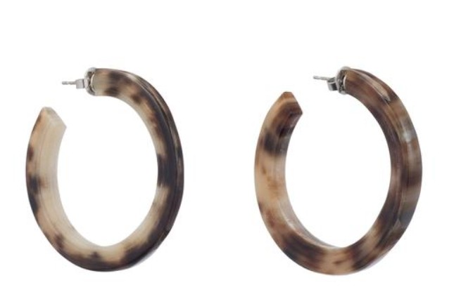 Buffalo horn crescent earring