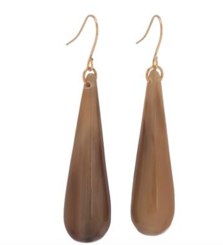 Natural buffalo horn tear drop earrings on gold plated wires.