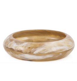 Genuine buffalo horn rounded bangle, 6.5 cm diameter.
