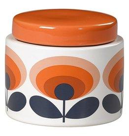 Wild and Wolf Small Storage Jar, 70s Oval Flower, Orange