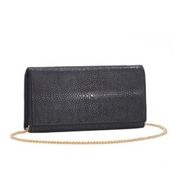 Vivo Shagreen Perfect Clutch with Chain, Black
