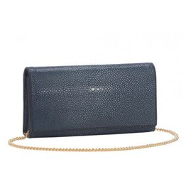 Vivo Shagreen Perfect Clutch with Chain, Navy