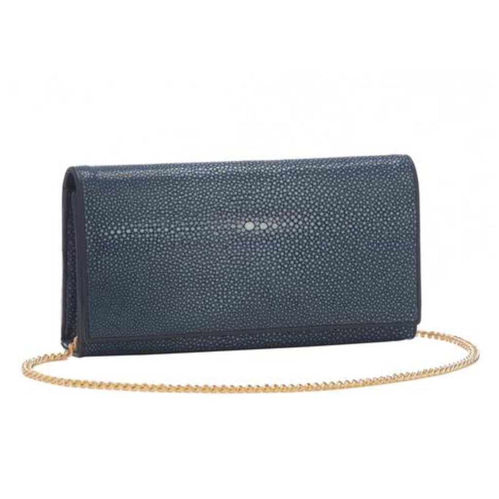 Shagreen Perfect Clutch with Chain, Navy