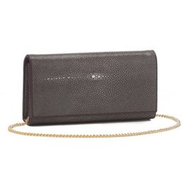 Shagreen Perfect Clutch with Chain, Coffee