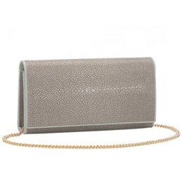 Shagreen Perfect Clutch with Chain, Cement