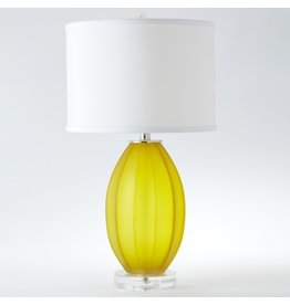 Fluted Frosted Lamp-Yellow-Sm<br /> 9&quot;L x 7.5&quot;W x 8&quot;H