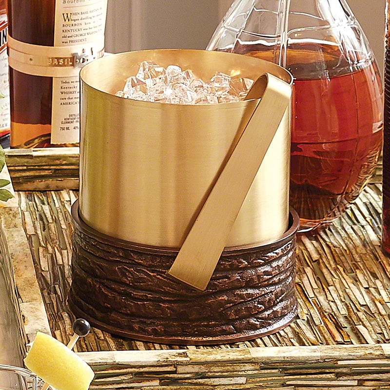 Forest Ice Bucket-Antique Copper &amp; Satin Brass<br /> 9&quot;L x 7.5&quot;W x 8&quot;H