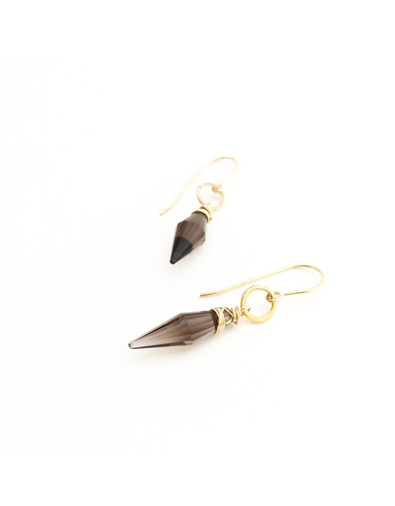 Dotted Line Smoky Quartz Point Earrings