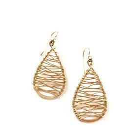 Dotted Line Gold Tear Drop Earrings