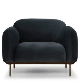 Nuevo Norden Occasional Chair, Storm Gray and Matte Brass