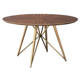 Nuevo Pirna Dining Table, Wood and Matte Brass