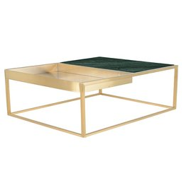 Nuevo Riesa Coffee Table, Brushed Gold and Emerald Marble