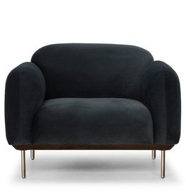 Nuevo Benson Occaisional Chair - Shadow Grey/Matte Brass