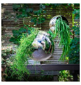 Gold Leaf Hanging Orb Planter