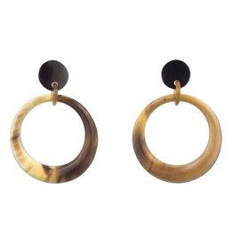 Buffalo Horn Oval Hoop Drop Earring