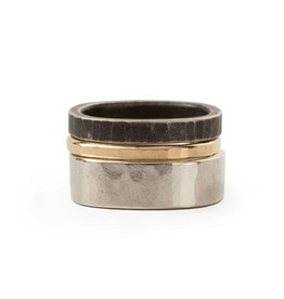 Three Stack Round Oxidized Densa Ring, Size 7