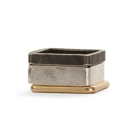 Three Stack Square Oxidized Densa Ring, Size 7