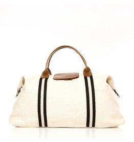 Original Duffel Bag Off White w/Black Stripes/Tan Leather